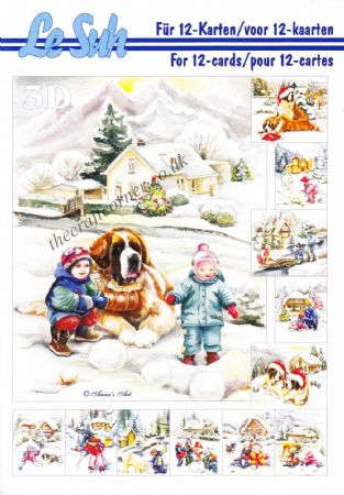 Christmas Children & Dogs A5 3D Decoupage Book from Le Suh